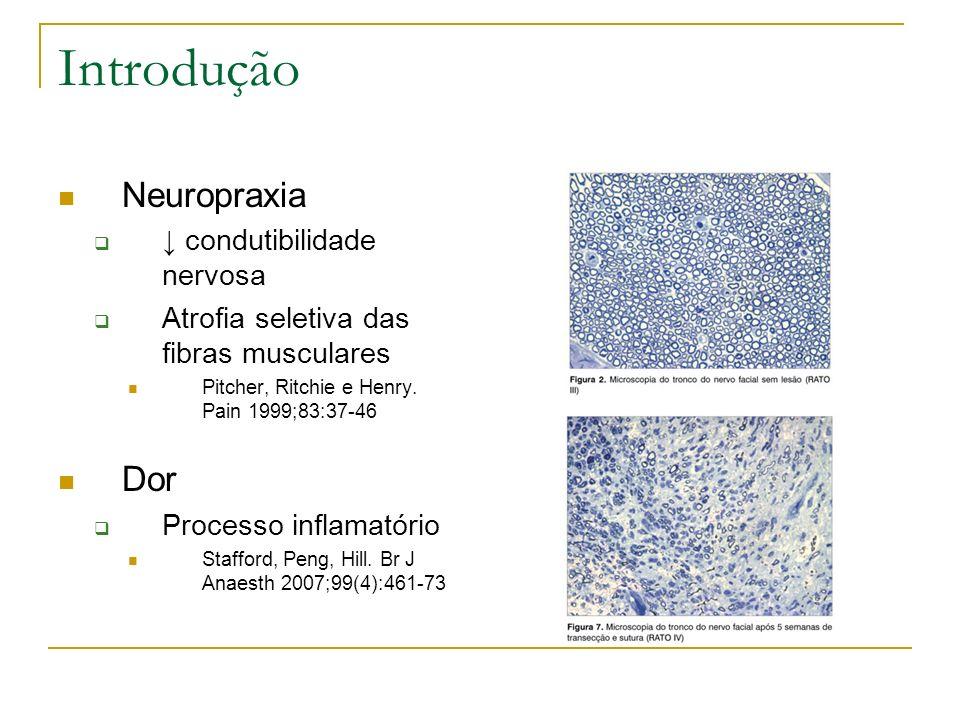 Introdução Neuropraxia condutibilidade nervosa Atrofia seletiva das fibras musculares Pitcher, Ritchie e Henry. Pain 1999;83:37-46 Dor Processo inflam