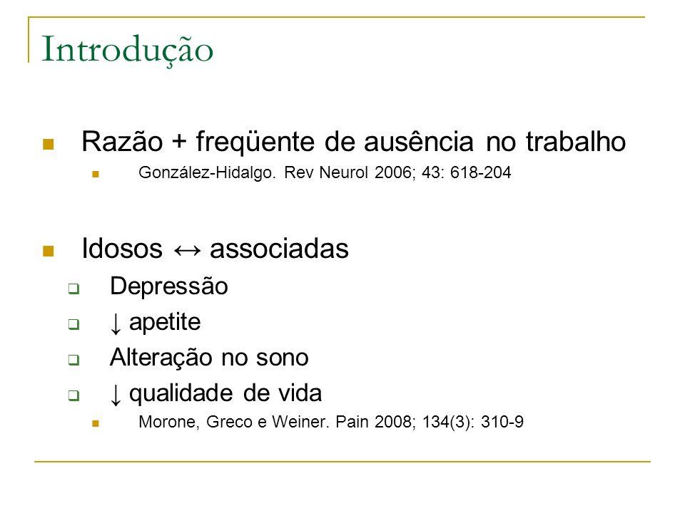Introdução Razão + freqüente de ausência no trabalho González-Hidalgo. Rev Neurol 2006; 43: 618-204 Idosos associadas Depressão apetite Alteração no s