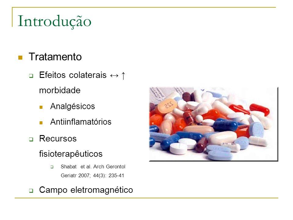 Introdução Tratamento Efeitos colaterais morbidade Analgésicos Antiinflamatórios Recursos fisioterapêuticos Shabat et al. Arch Gerontol Geriatr 2007;