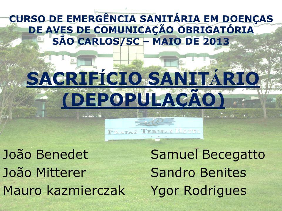SACRIF Í CIO SANIT Á RIO (DEPOPULAÇÃO) João Benedet João Mitterer Mauro kazmierczak Samuel Becegatto Sandro Benites Ygor Rodrigues CURSO DE EMERGÊNCIA