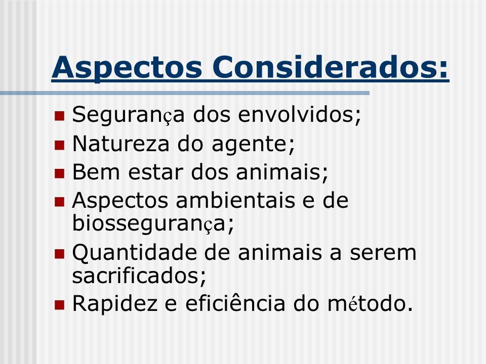 Aspectos Considerados: Seguran ç a dos envolvidos; Natureza do agente; Bem estar dos animais; Aspectos ambientais e de biosseguran ç a; Quantidade de