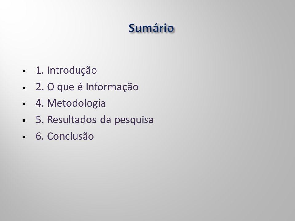 1. Introdução 2. O que é Informação 4. Metodologia 5. Resultados da pesquisa 6. Conclusão
