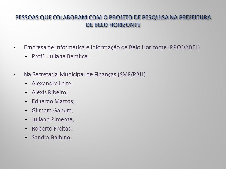Empresa de Informática e Informação de Belo Horizonte (PRODABEL) Profª. Juliana Bemfica. Na Secretaria Municipal de Finanças (SMF/PBH) Alexandre Leite