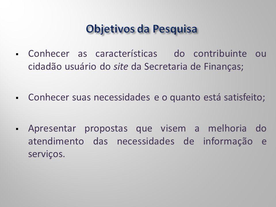 Conhecer as características do contribuinte ou cidadão usuário do site da Secretaria de Finanças; Conhecer suas necessidades e o quanto está satisfeit