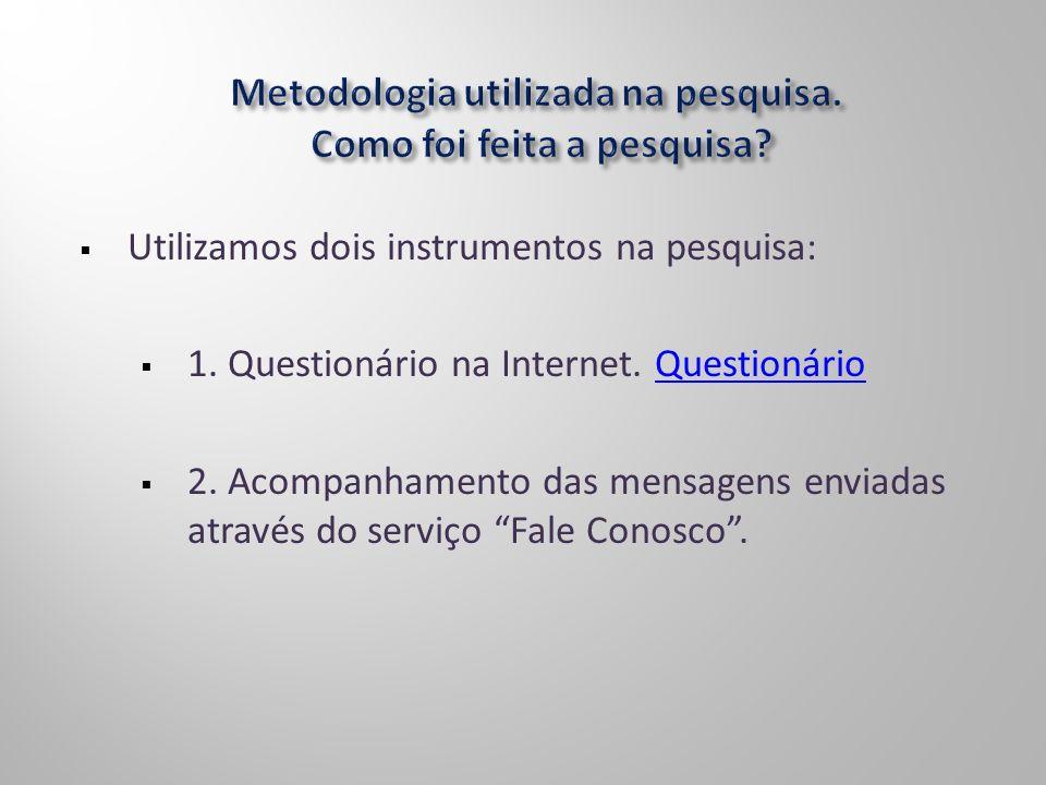 Utilizamos dois instrumentos na pesquisa: 1. Questionário na Internet. QuestionárioQuestionário 2. Acompanhamento das mensagens enviadas através do se