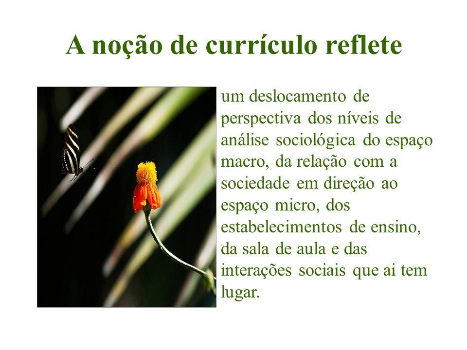 A noção de currículo reflete um deslocamento de perspectiva dos níveis de análise sociológica do espaço macro, da relação com a sociedade em direção a