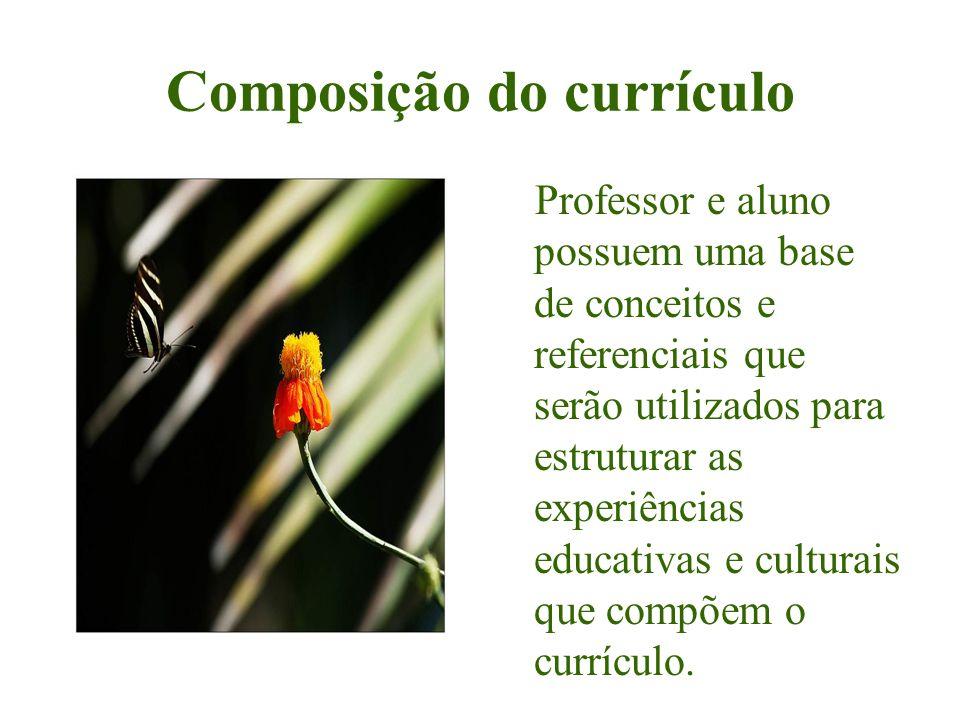 Composição do currículo Professor e aluno possuem uma base de conceitos e referenciais que serão utilizados para estruturar as experiências educativas