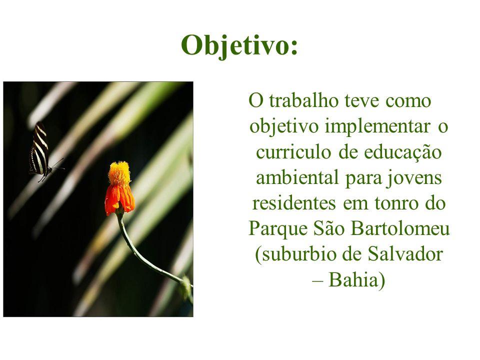 Objetivo: O trabalho teve como objetivo implementar o curriculo de educação ambiental para jovens residentes em tonro do Parque São Bartolomeu (suburb
