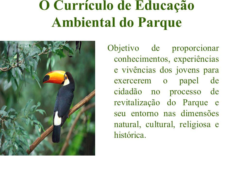 O Currículo de Educação Ambiental do Parque Objetivo de proporcionar conhecimentos, experiências e vivências dos jovens para exercerem o papel de cida