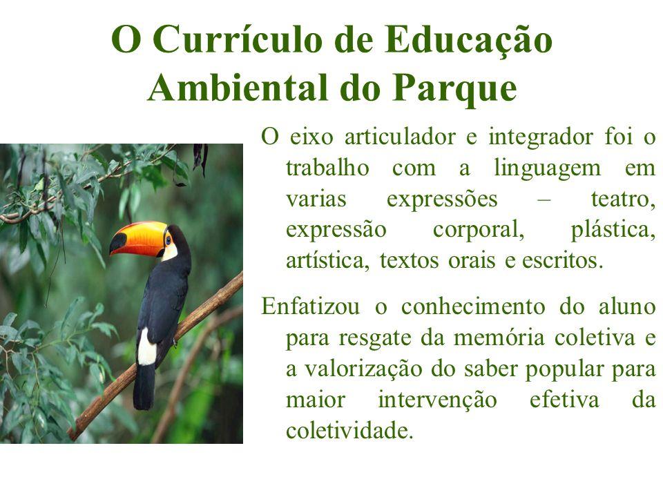 O Currículo de Educação Ambiental do Parque O eixo articulador e integrador foi o trabalho com a linguagem em varias expressões – teatro, expressão co