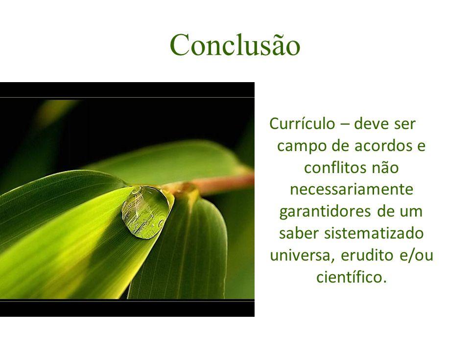 Conclusão Currículo – deve ser campo de acordos e conflitos não necessariamente garantidores de um saber sistematizado universa, erudito e/ou científi