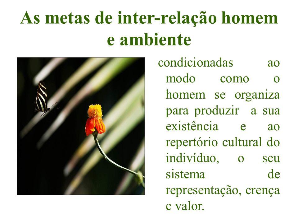 As metas de inter-relação homem e ambiente condicionadas ao modo como o homem se organiza para produzir a sua existência e ao repertório cultural do i