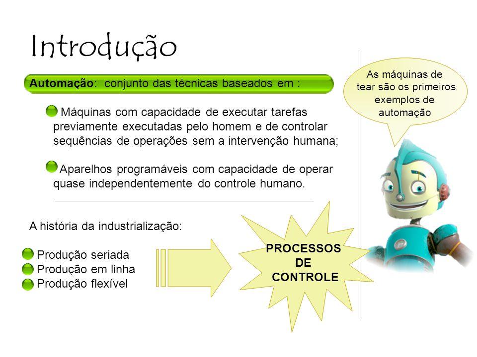 Introdução Automação: conjunto das técnicas baseados em : Máquinas com capacidade de executar tarefas previamente executadas pelo homem e de controlar