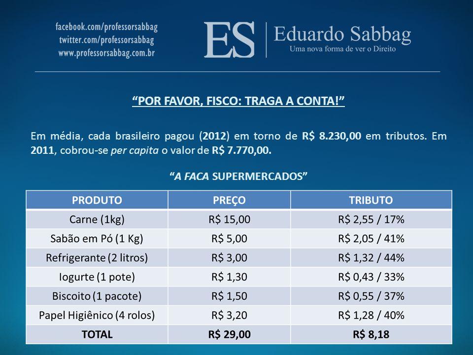 POR FAVOR, FISCO: TRAGA A CONTA! Em média, cada brasileiro pagou (2012) em torno de R$ 8.230,00 em tributos. Em 2011, cobrou-se per capita o valor de