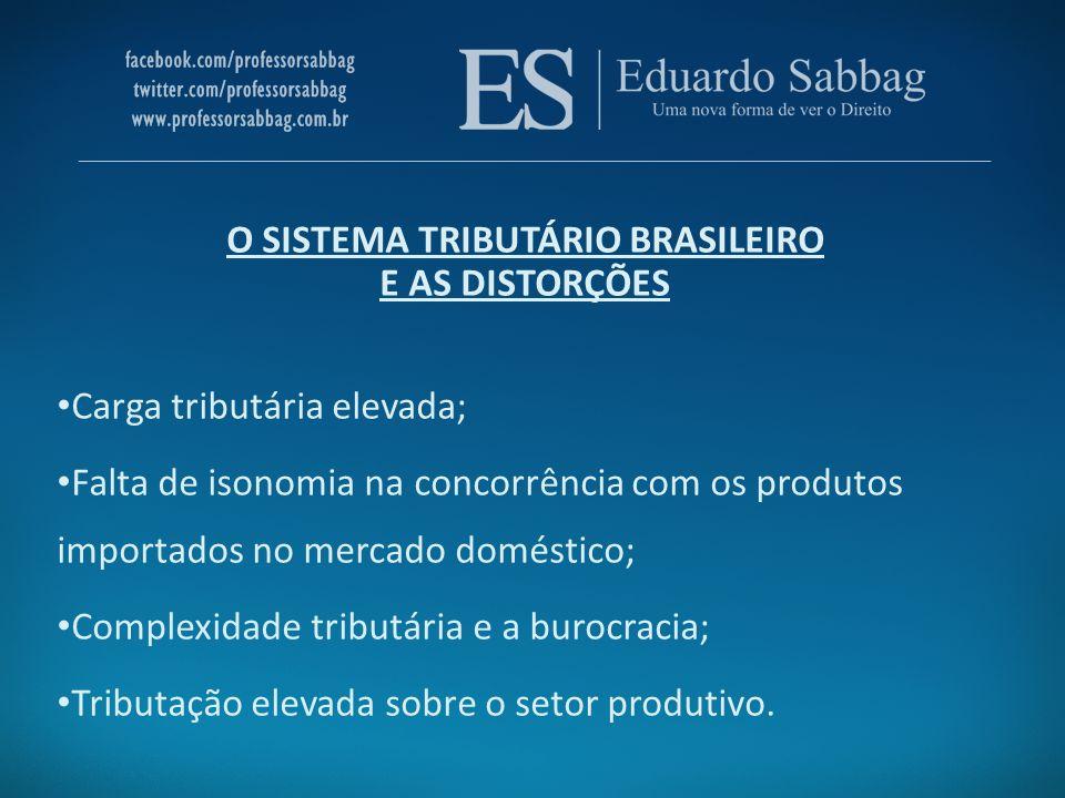 O SISTEMA TRIBUTÁRIO BRASILEIRO E AS DISTORÇÕES Carga tributária elevada; Falta de isonomia na concorrência com os produtos importados no mercado domé
