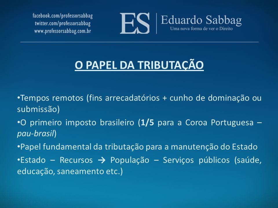 O PAPEL DA TRIBUTAÇÃO Tempos remotos (fins arrecadatórios + cunho de dominação ou submissão) O primeiro imposto brasileiro (1/5 para a Coroa Portugues
