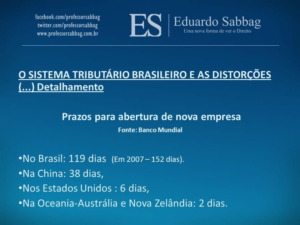 Prazos para abertura de nova empresa Fonte: Banco Mundial No Brasil: 119 dias (Em 2007 – 152 dias). Na China: 38 dias, Nos Estados Unidos : 6 dias, Na