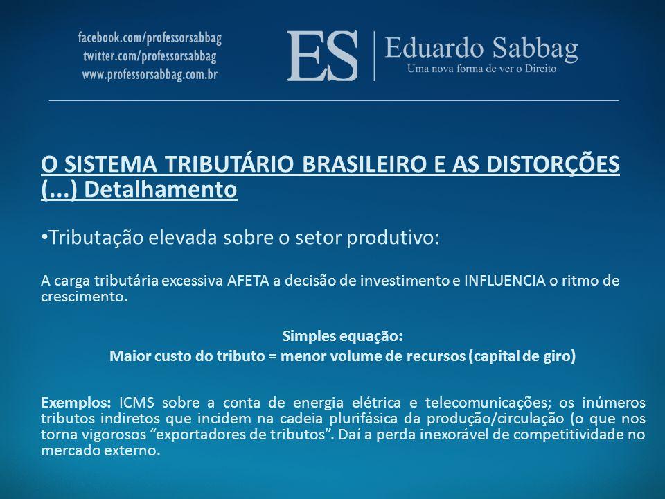 O SISTEMA TRIBUTÁRIO BRASILEIRO E AS DISTORÇÕES (...) Detalhamento Tributação elevada sobre o setor produtivo: A carga tributária excessiva AFETA a de