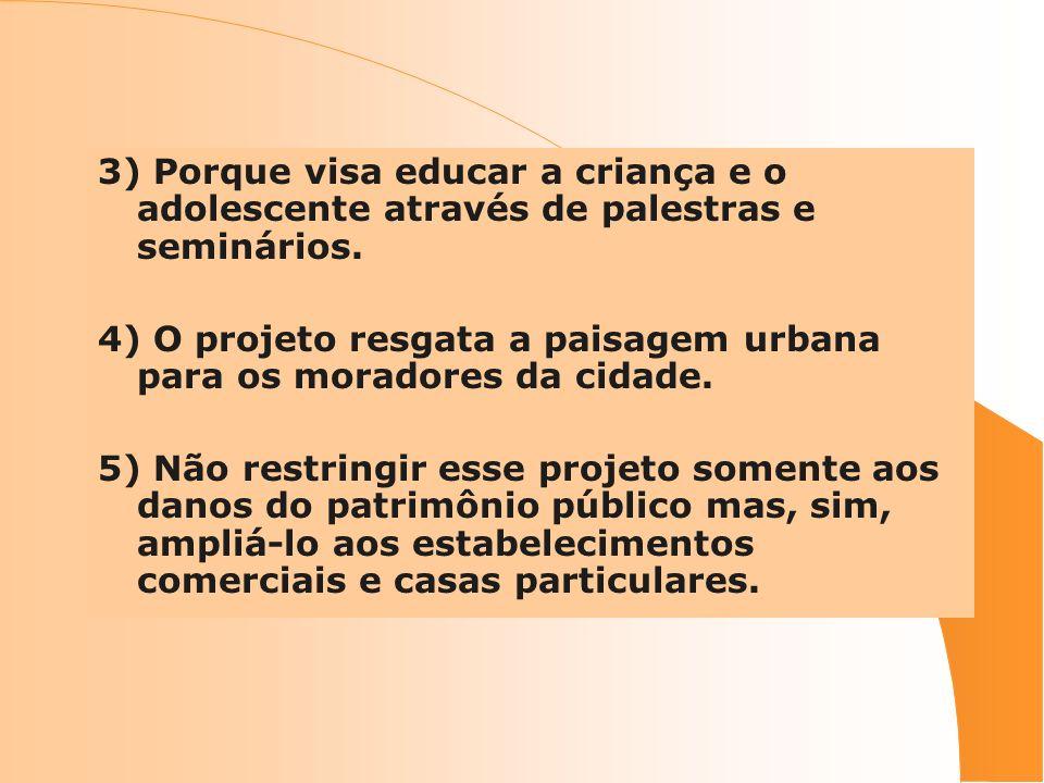 3) Porque visa educar a criança e o adolescente através de palestras e seminários.