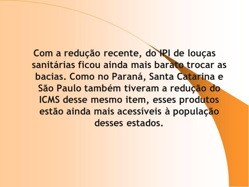 Com a redução recente, do IPI de louças sanitárias ficou ainda mais barato trocar as bacias. Como no Paraná, Santa Catarina e São Paulo também tiveram
