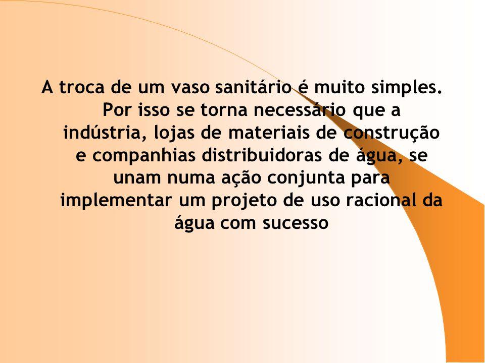 A troca de um vaso sanitário é muito simples. Por isso se torna necessário que a indústria, lojas de materiais de construção e companhias distribuidor