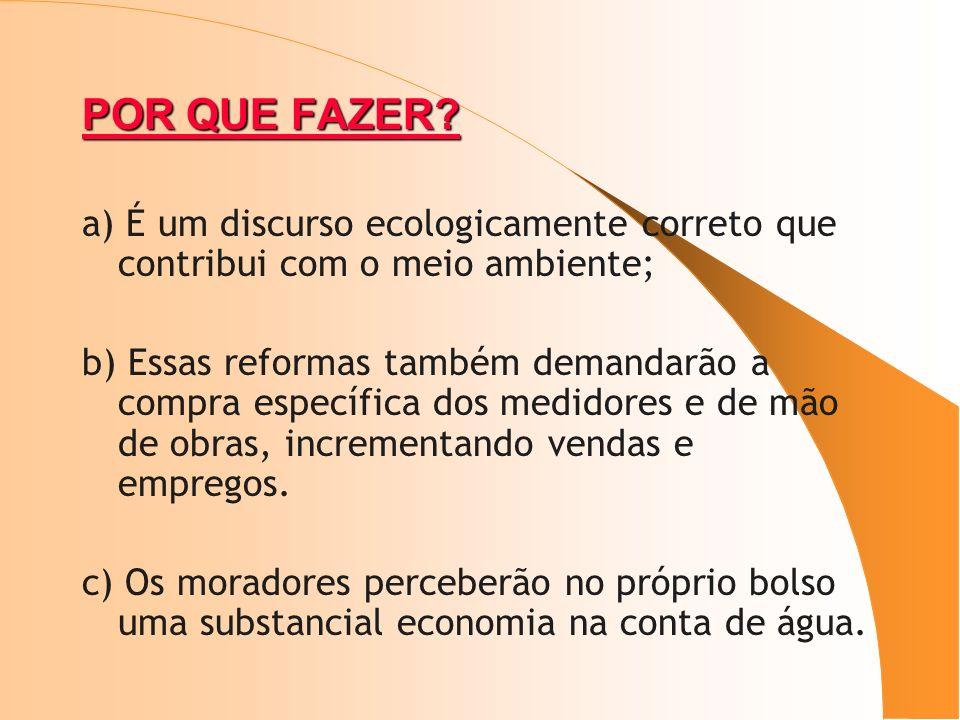POR QUE FAZER? a) É um discurso ecologicamente correto que contribui com o meio ambiente; b) Essas reformas também demandarão a compra específica dos