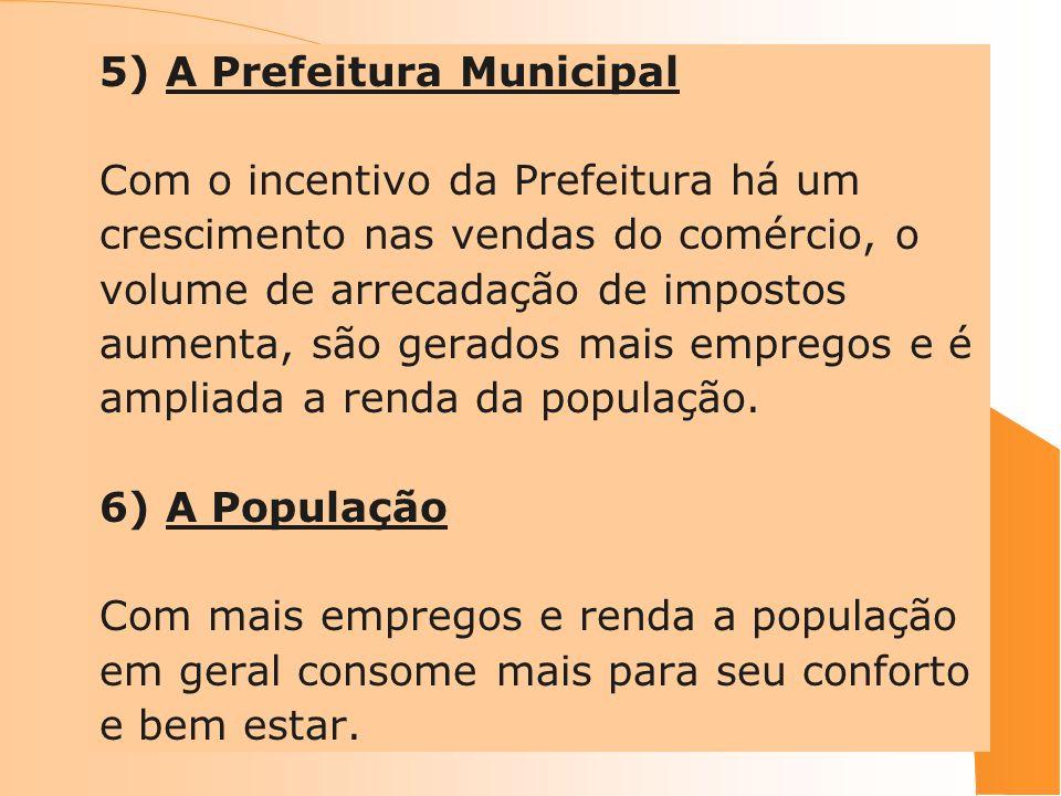 5) A Prefeitura Municipal Com o incentivo da Prefeitura há um crescimento nas vendas do comércio, o volume de arrecadação de impostos aumenta, são ger