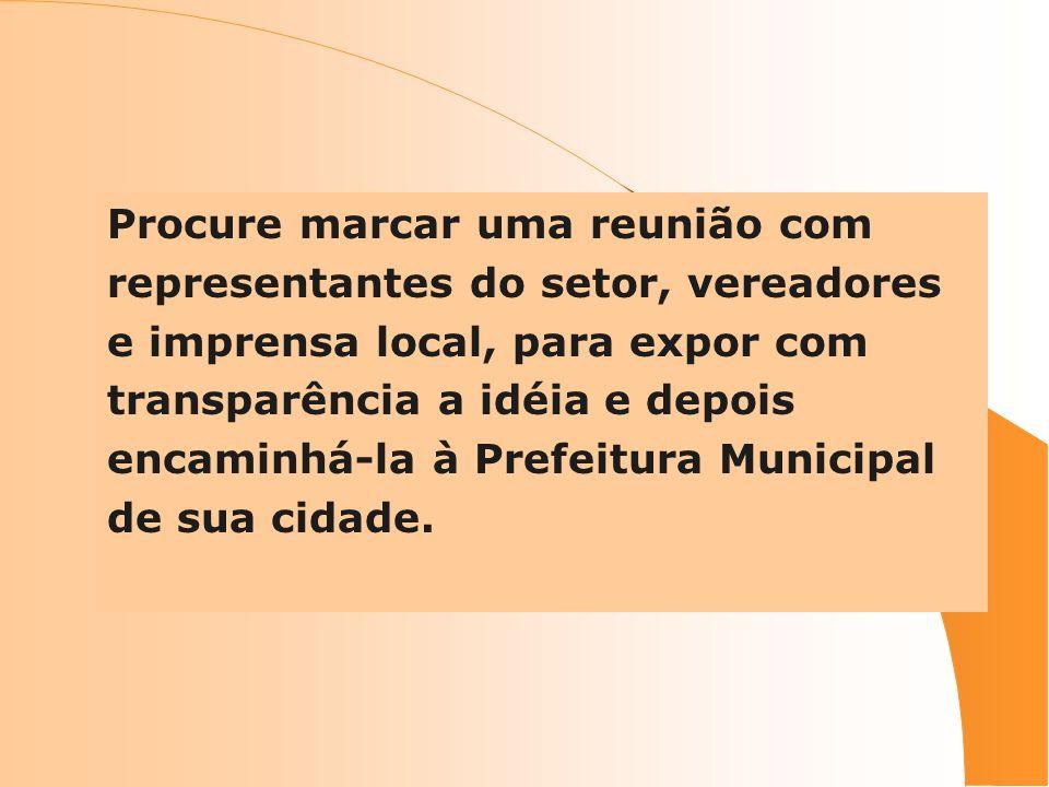 Procure marcar uma reunião com representantes do setor, vereadores e imprensa local, para expor com transparência a idéia e depois encaminhá-la à Pref