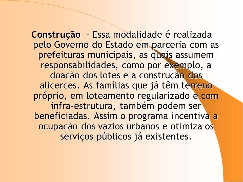Construção - Essa modalidade é realizada pelo Governo do Estado em parceria com as prefeituras municipais, as quais assumem responsabilidades, como po