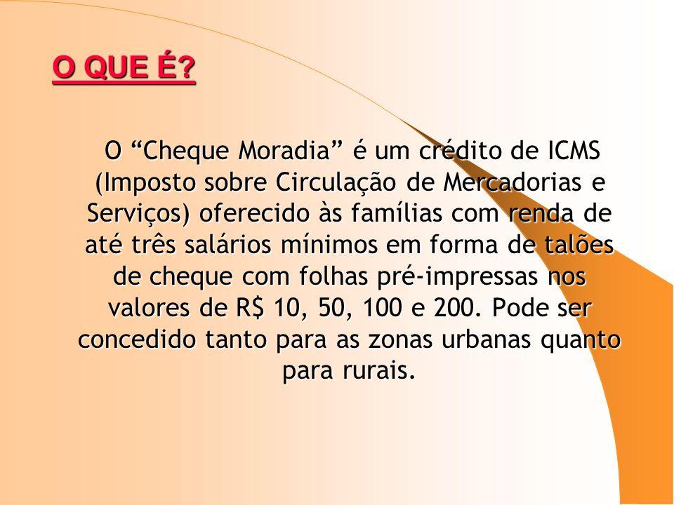 O QUE É? O Cheque Moradia é um crédito de ICMS (Imposto sobre Circulação de Mercadorias e Serviços) oferecido às famílias com renda de até três salári
