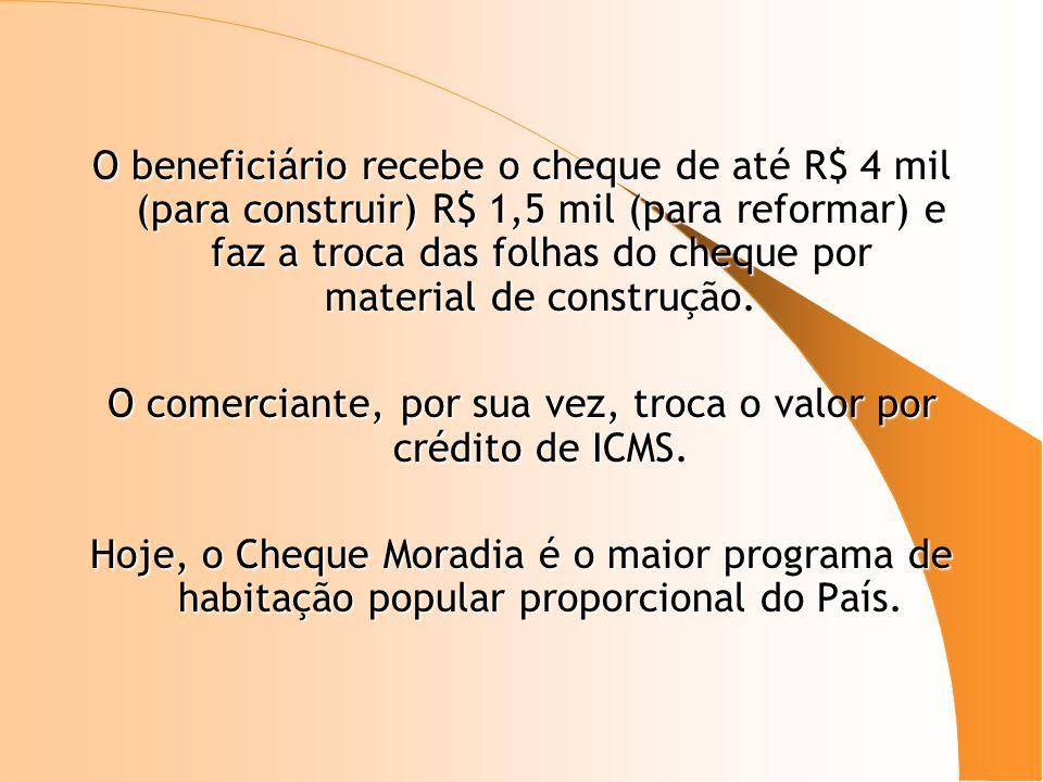 O beneficiário recebe o cheque de até R$ 4 mil (para construir) R$ 1,5 mil (para reformar) e faz a troca das folhas do cheque por material de construç