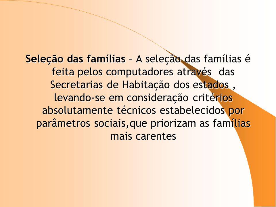 Seleção das famílias – A seleção das famílias é feita pelos computadores através das Secretarias de Habitação dos estados, levando-se em consideração