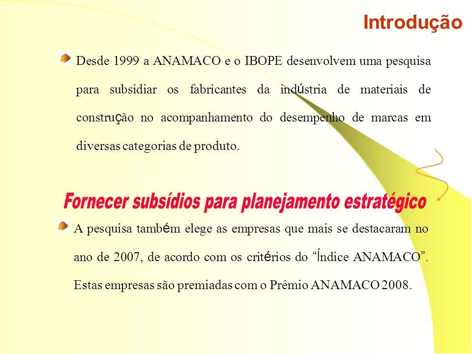 Introdução Desde 1999 a ANAMACO e o IBOPE desenvolvem uma pesquisa para subsidiar os fabricantes da ind ú stria de materiais de constru ç ão no acompanhamento do desempenho de marcas em diversas categorias de produto.