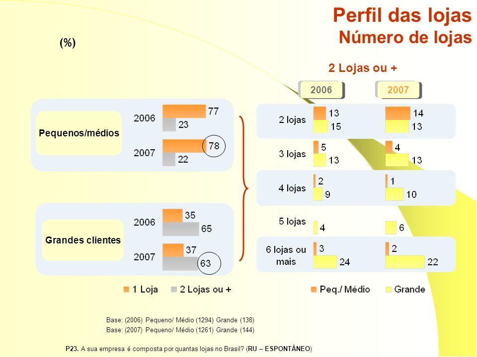 Pequenos/médios Grandes clientes Perfil das lojas Número de lojas 20062007 2 Lojas ou + Base: (2006) Pequeno/ Médio (1294) Grande (138) Base: (2007) Pequeno/ Médio (1261) Grande (144) (%) P23.