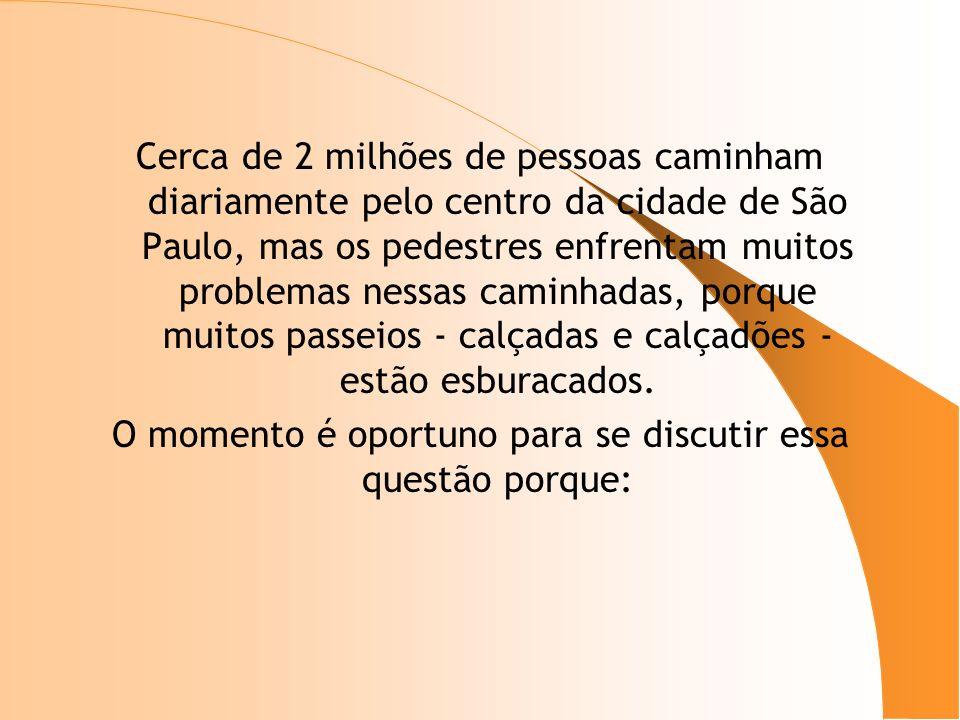 Cerca de 2 milhões de pessoas caminham diariamente pelo centro da cidade de São Paulo, mas os pedestres enfrentam muitos problemas nessas caminhadas,