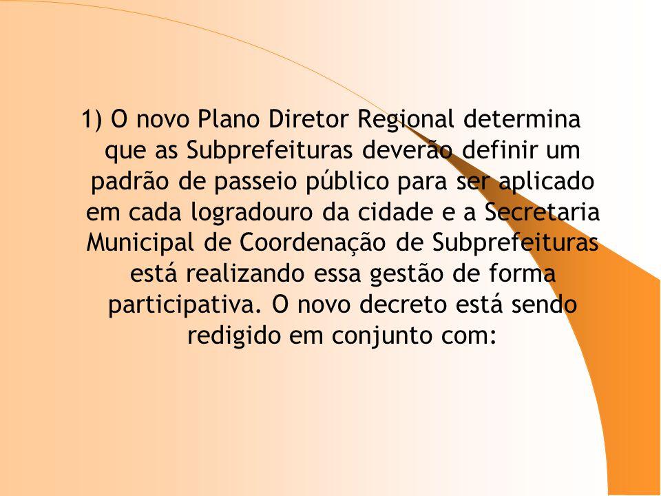 1) O novo Plano Diretor Regional determina que as Subprefeituras deverão definir um padrão de passeio público para ser aplicado em cada logradouro da