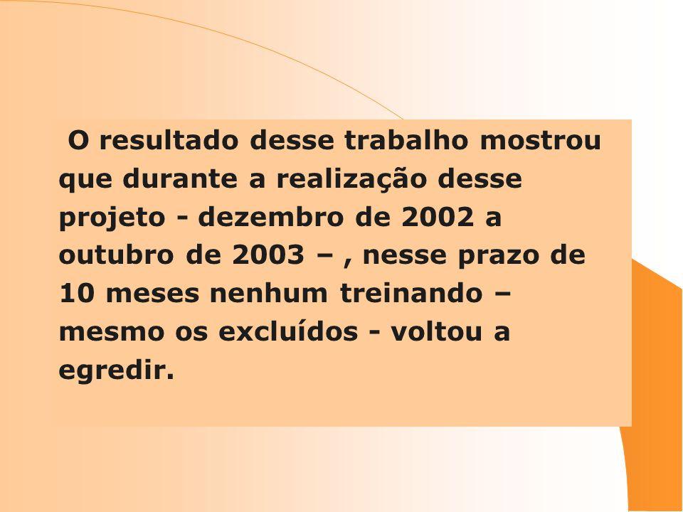 O resultado desse trabalho mostrou que durante a realização desse projeto - dezembro de 2002 a outubro de 2003 –, nesse prazo de 10 meses nenhum trein
