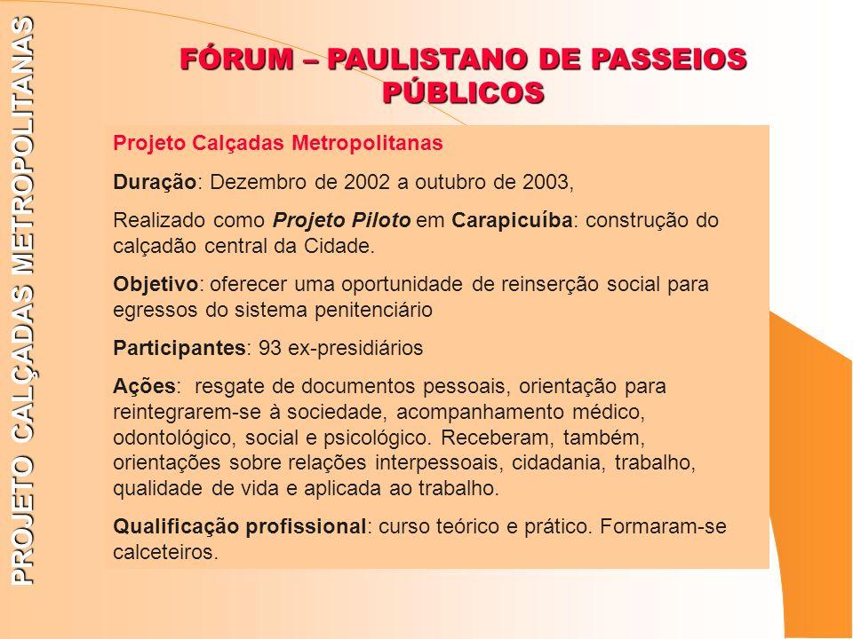PROJETO CALÇADAS METROPOLITANAS FÓRUM – PAULISTANO DE PASSEIOS PÚBLICOS Projeto Calçadas Metropolitanas Duração: Dezembro de 2002 a outubro de 2003, R