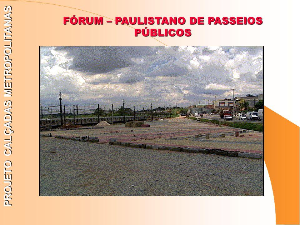 FÓRUM – PAULISTANO DE PASSEIOS PÚBLICOS PROJETO CALÇADAS METROPOLITANAS