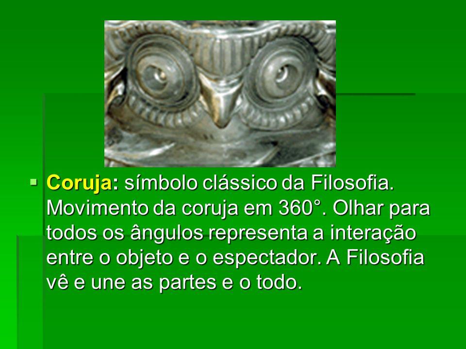 Coruja: símbolo clássico da Filosofia. Movimento da coruja em 360°. Olhar para todos os ângulos representa a interação entre o objeto e o espectador.