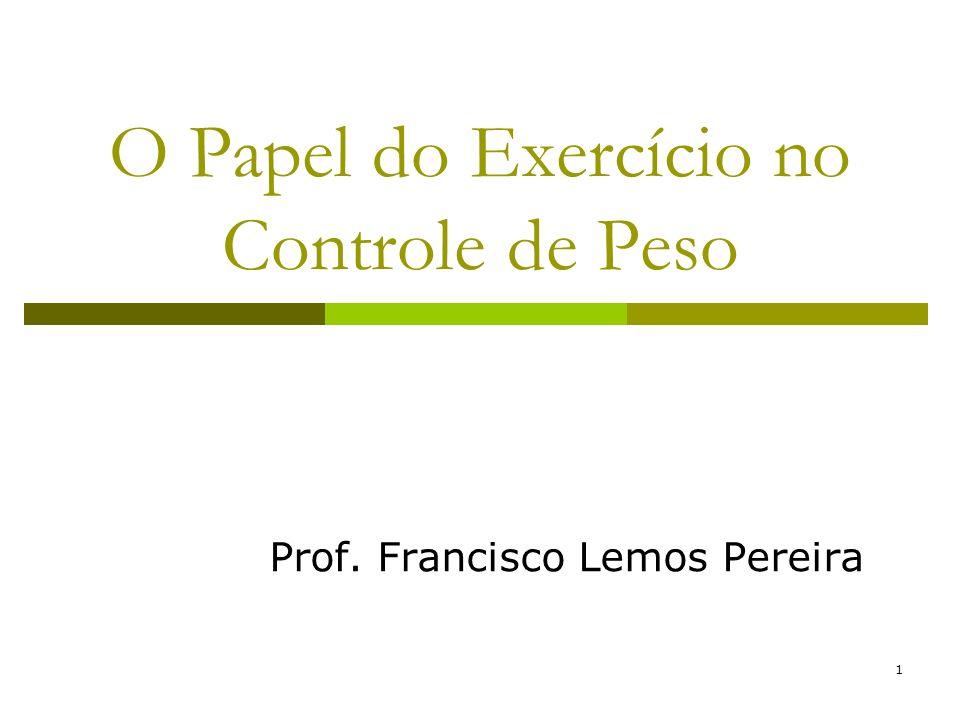 1 O Papel do Exercício no Controle de Peso Prof. Francisco Lemos Pereira