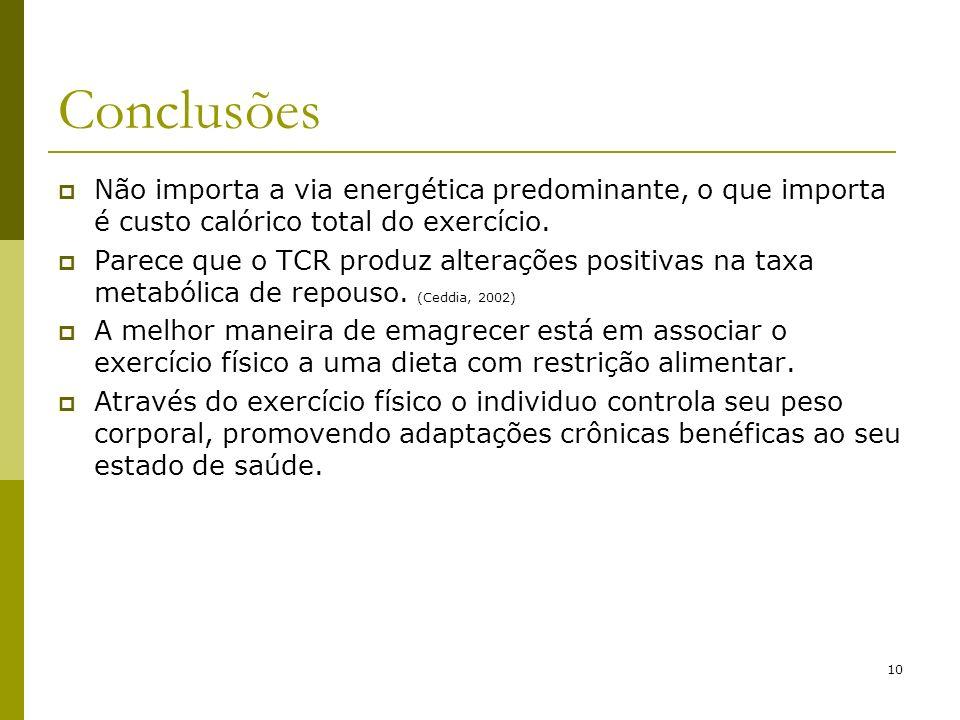 10 Conclusões Não importa a via energética predominante, o que importa é custo calórico total do exercício. Parece que o TCR produz alterações positiv