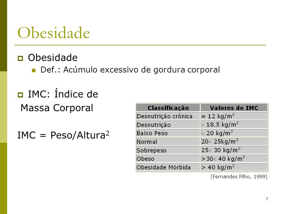 7 Obesidade Def.: Acúmulo excessivo de gordura corporal IMC: Índice de Massa Corporal IMC = Peso/Altura 2 (Fernandes Filho, 1999)
