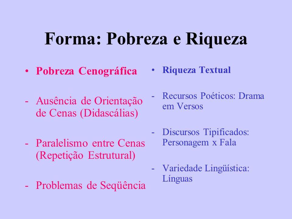 Forma: Pobreza e Riqueza Pobreza Cenográfica -Ausência de Orientação de Cenas (Didascálias) -Paralelismo entre Cenas (Repetição Estrutural) -Problemas