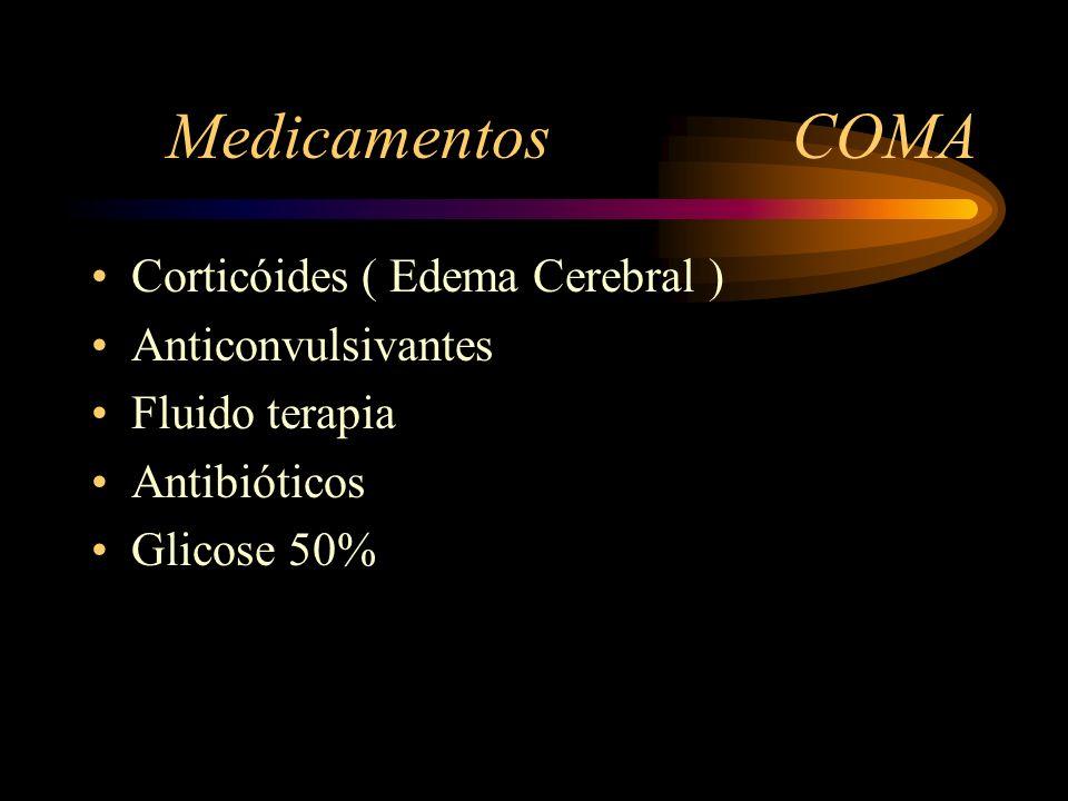 Medicamentos COMA Corticóides ( Edema Cerebral ) Anticonvulsivantes Fluido terapia Antibióticos Glicose 50%