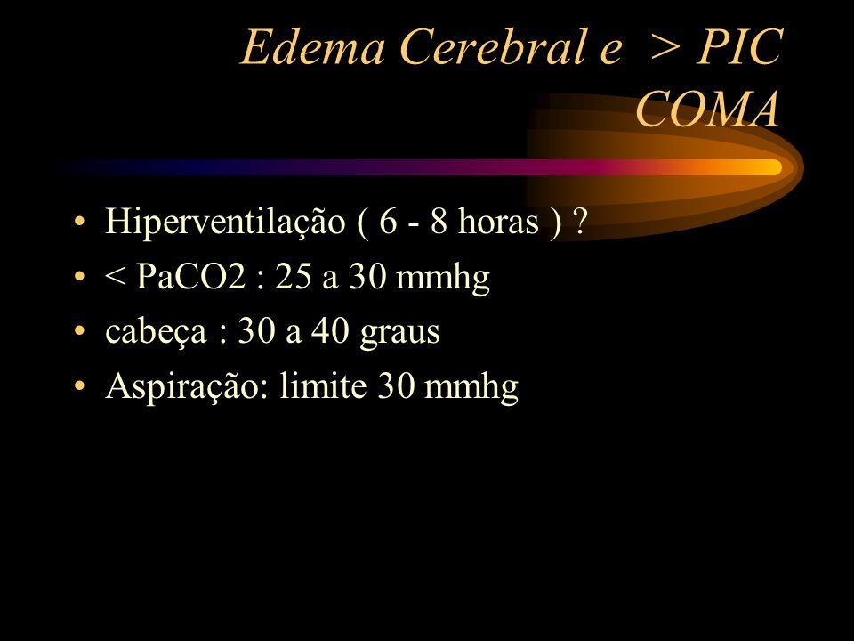 Edema Cerebral e > PIC COMA Hiperventilação ( 6 - 8 horas ) ? < PaCO2 : 25 a 30 mmhg cabeça : 30 a 40 graus Aspiração: limite 30 mmhg