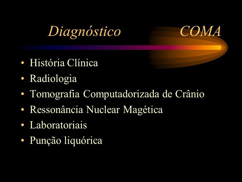 Diagnóstico COMA História Clínica Radiologia Tomografia Computadorizada de Crânio Ressonância Nuclear Magética Laboratoriais Punção liquórica