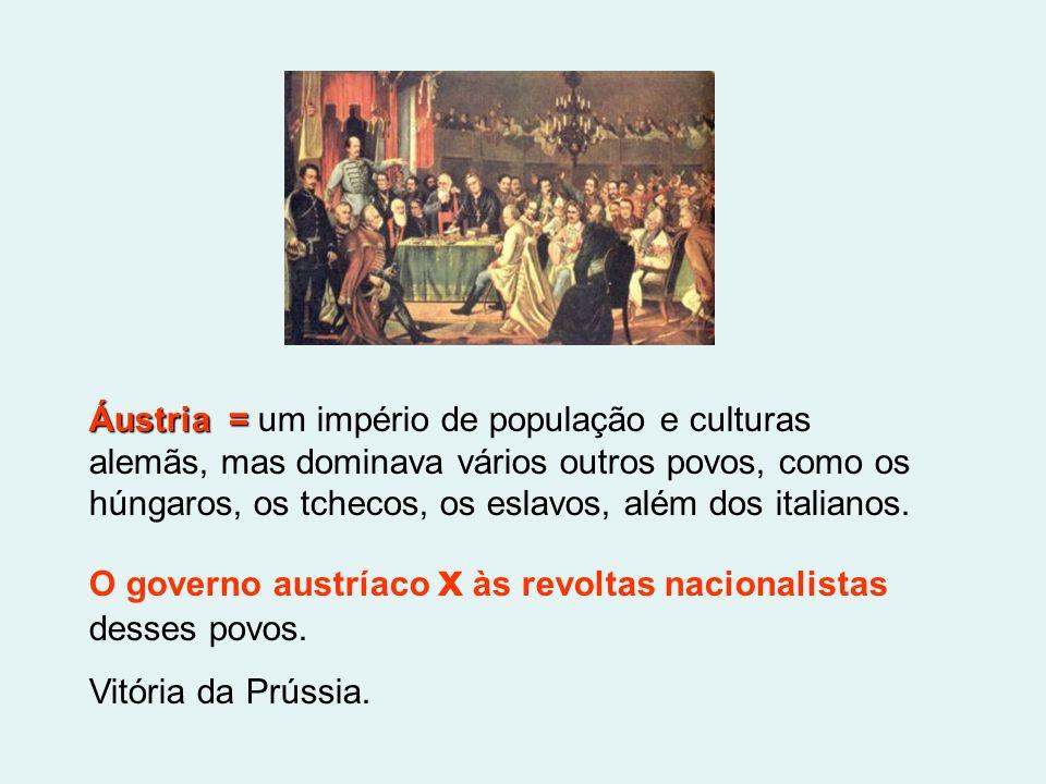 Áustria = Áustria = um império de população e culturas alemãs, mas dominava vários outros povos, como os húngaros, os tchecos, os eslavos, além dos it