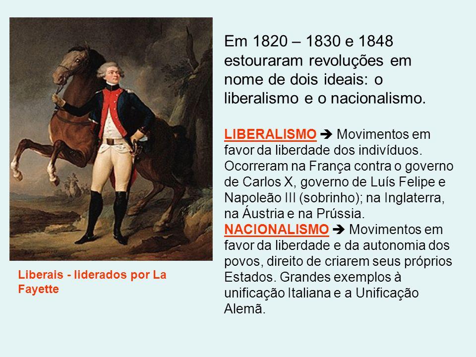 Em 1820 – 1830 e 1848 estouraram revoluções em nome de dois ideais: o liberalismo e o nacionalismo. LIBERALISMO Movimentos em favor da liberdade dos i