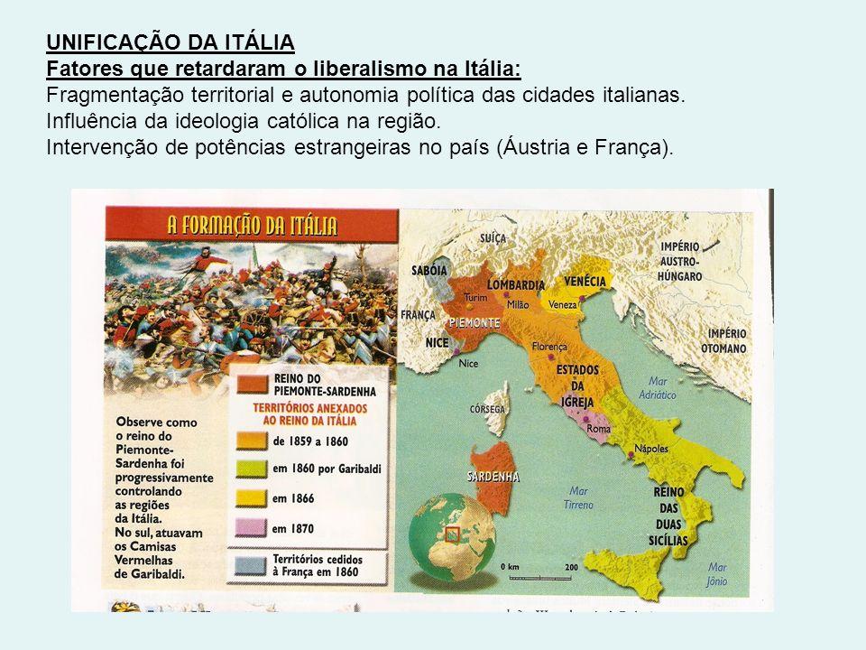 UNIFICAÇÃO DA ITÁLIA Fatores que retardaram o liberalismo na Itália: Fragmentação territorial e autonomia política das cidades italianas. Influência d